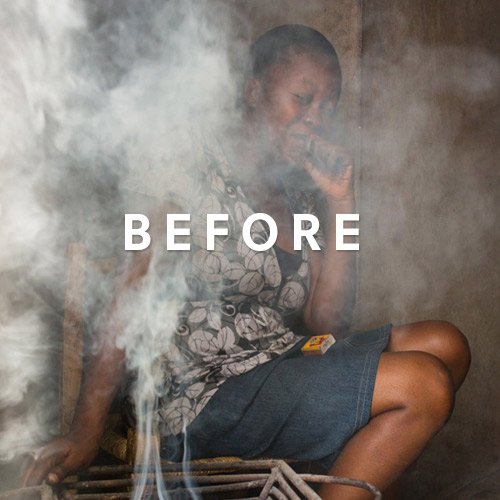 """Woman coughing in thick smoke filled room with the word """"before"""" on top of the image."""