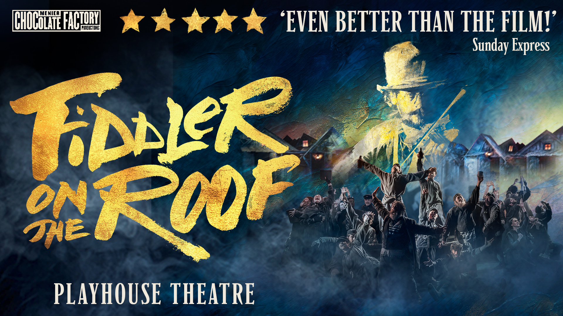Title artwork for Fiddler on the Roof the musical with 5 star reviews