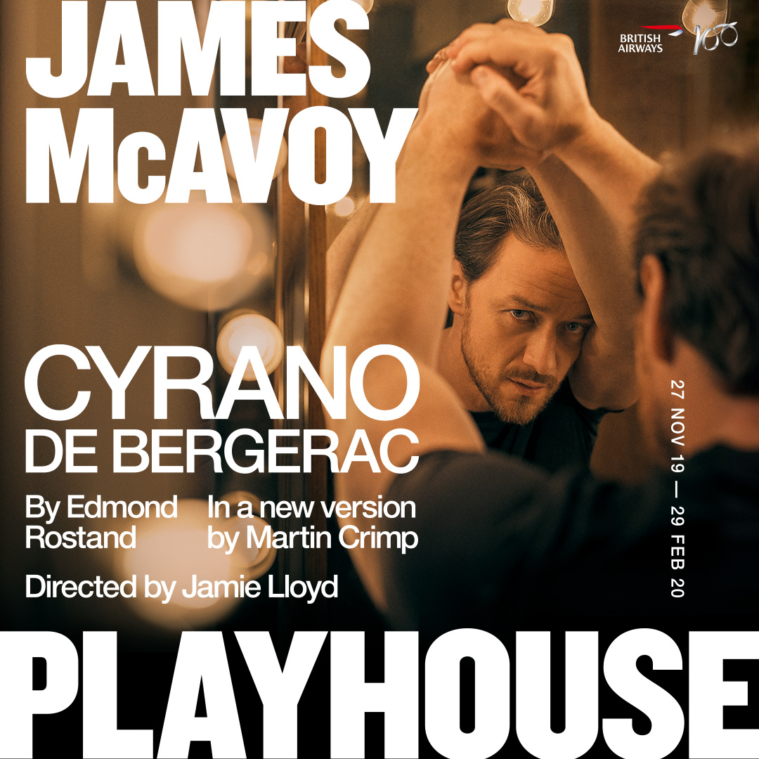 Title artwork for cyrano de bergerac featuring James McAvoy