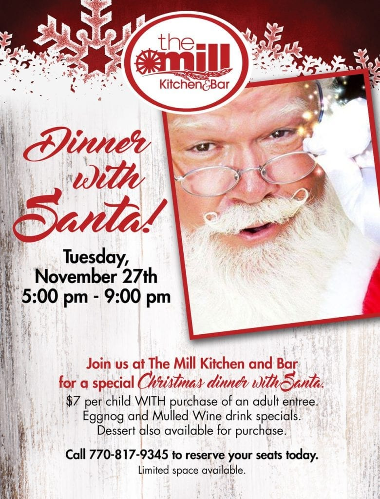 Dinner with Santa at The Mill in Roswell, GA