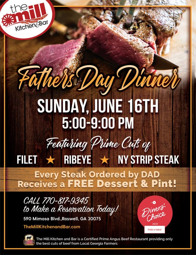 the mill kitchen & bar for father's day