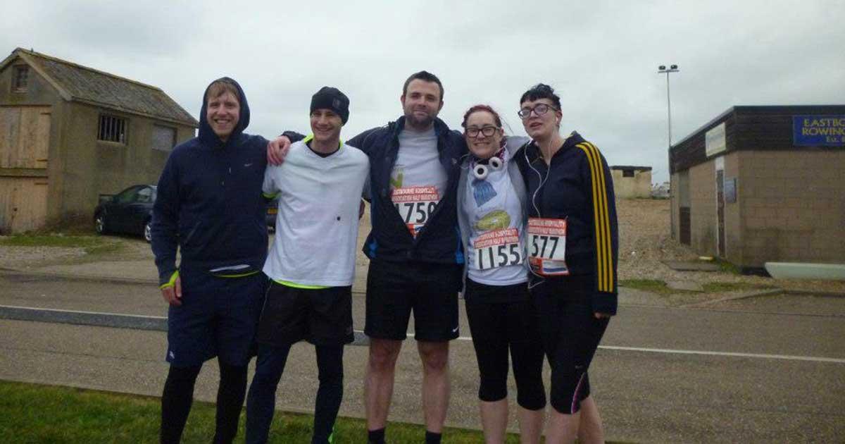 Photo of Adam's friends in the marathon