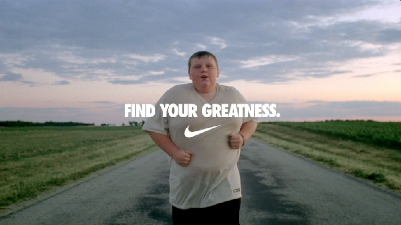 Nike - Find your greatness ad - contextual ad geared towards prevention-focused clients