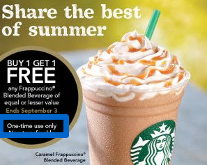 Starbucks limits on redemptions