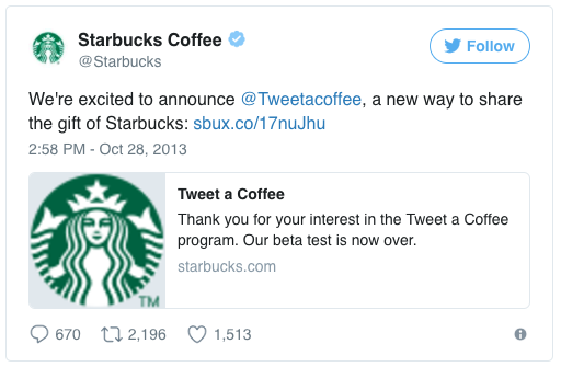 Social Media for coupons - Starbucks example