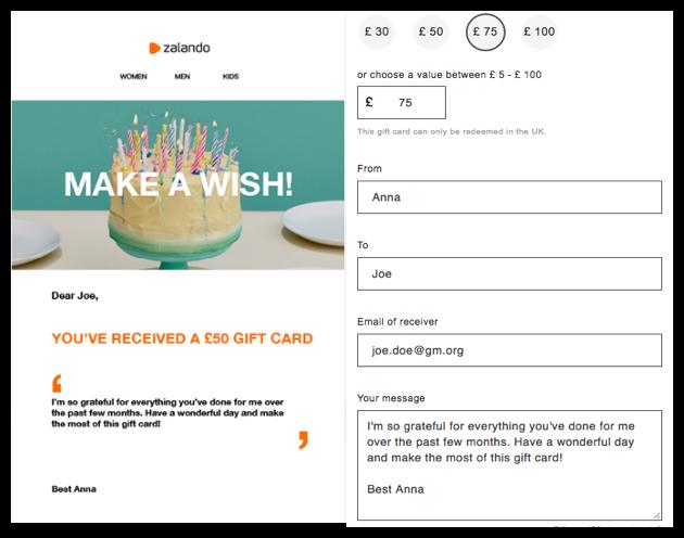 Zalando gift card