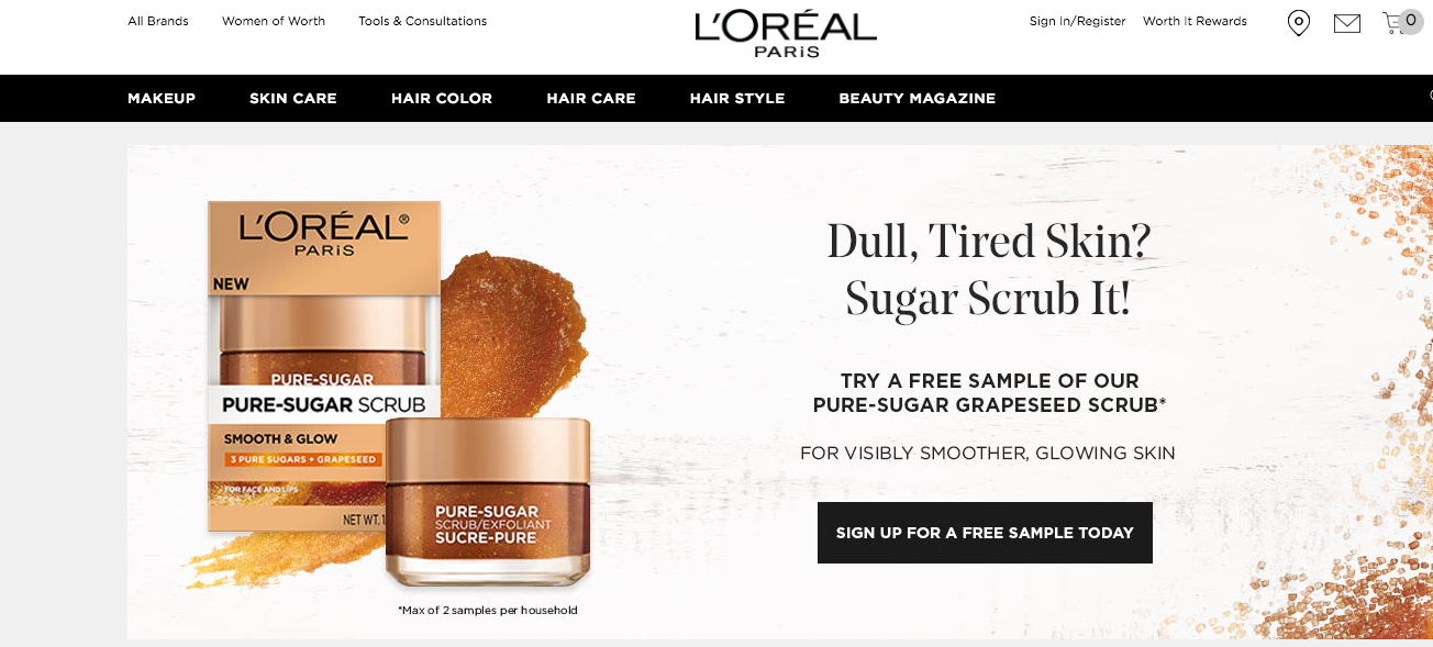 L'Oreal free samples campaign
