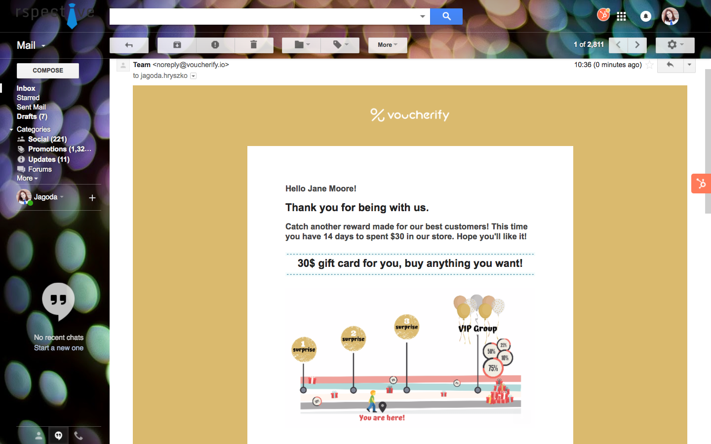 Personalised email Voucherify