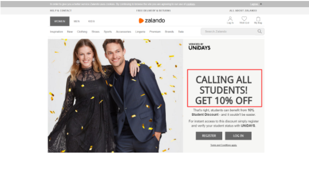 Zalando coupon strategy revolves around the calendar and special occassions