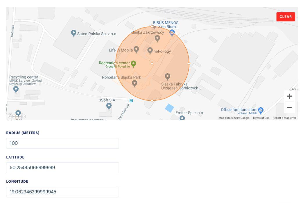 Radar API geolocation