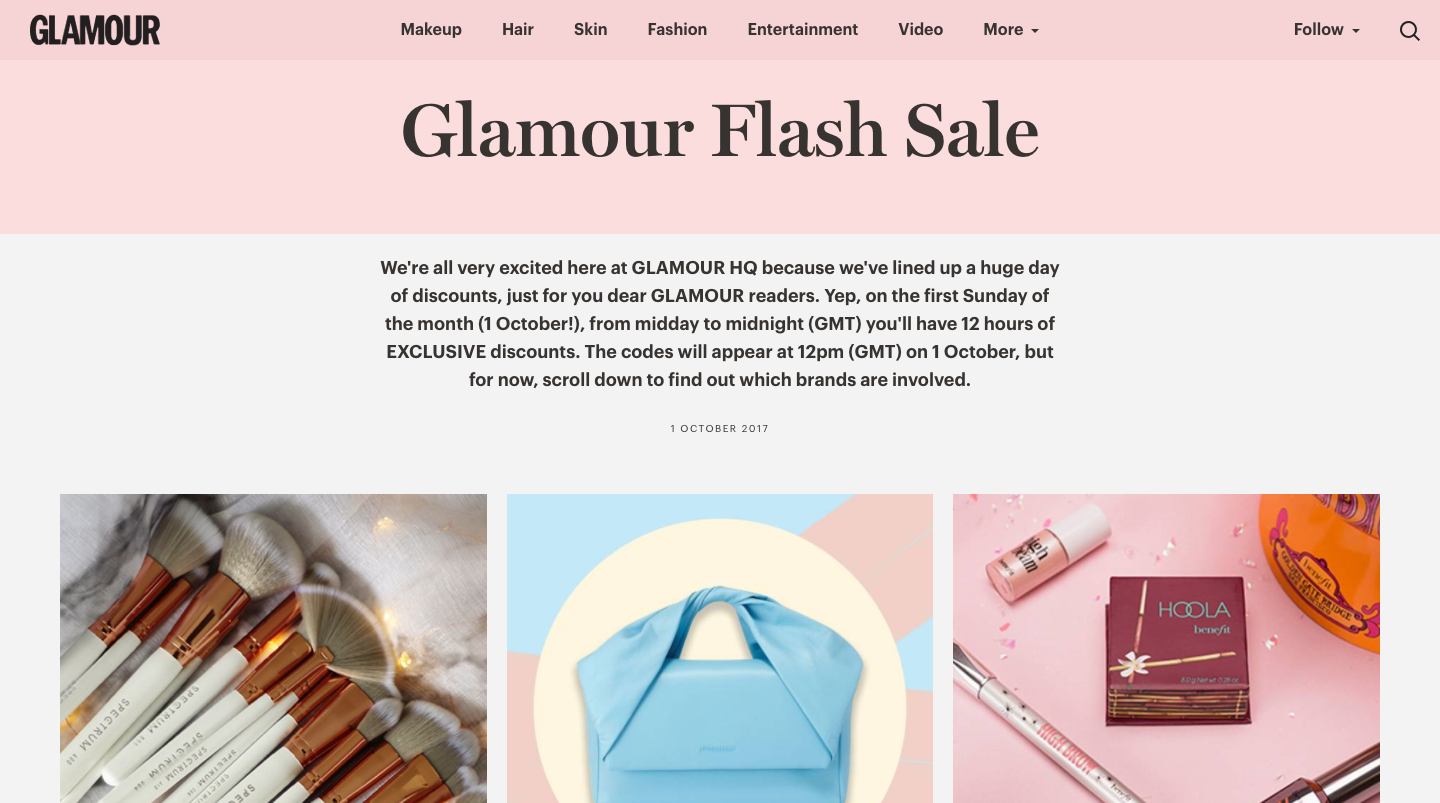 Glamour flash sale. Example 5th of sales promotion