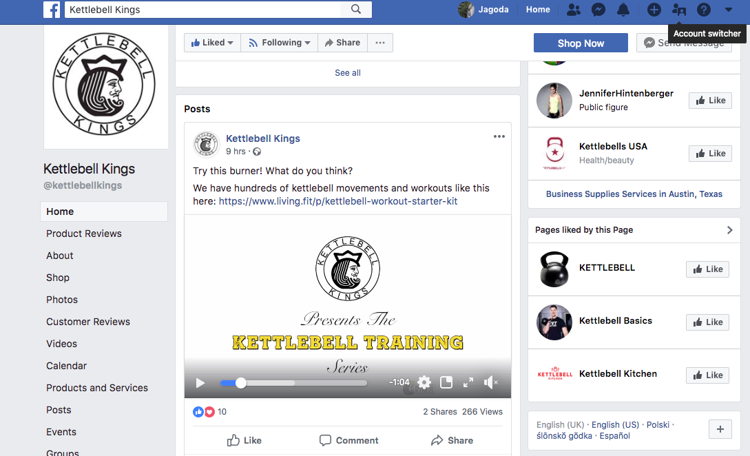 Kettlebell Kings Facebook profileis a comprehensive knowledge and training base for their followers.