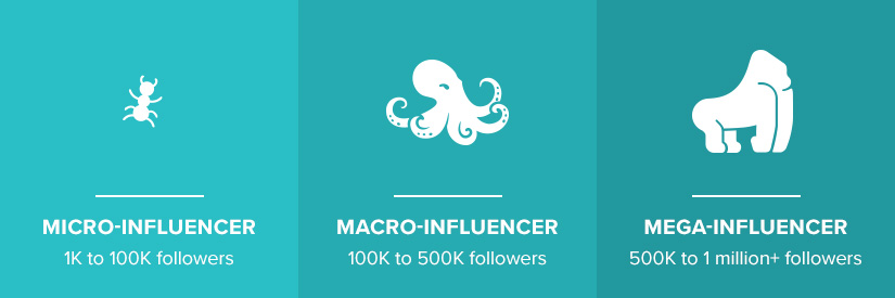 Micro, macro and mega influencers
