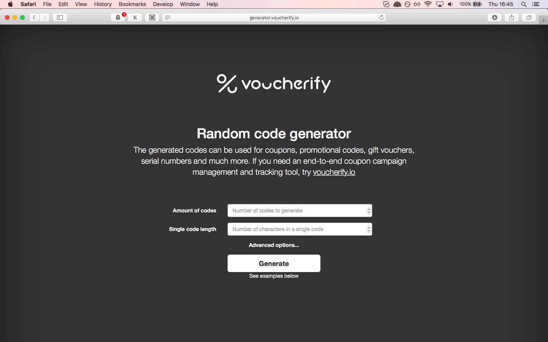 Random code generator Voucherify