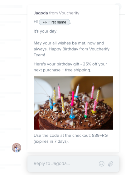 Birthday coupons - Intercom and Voucherify