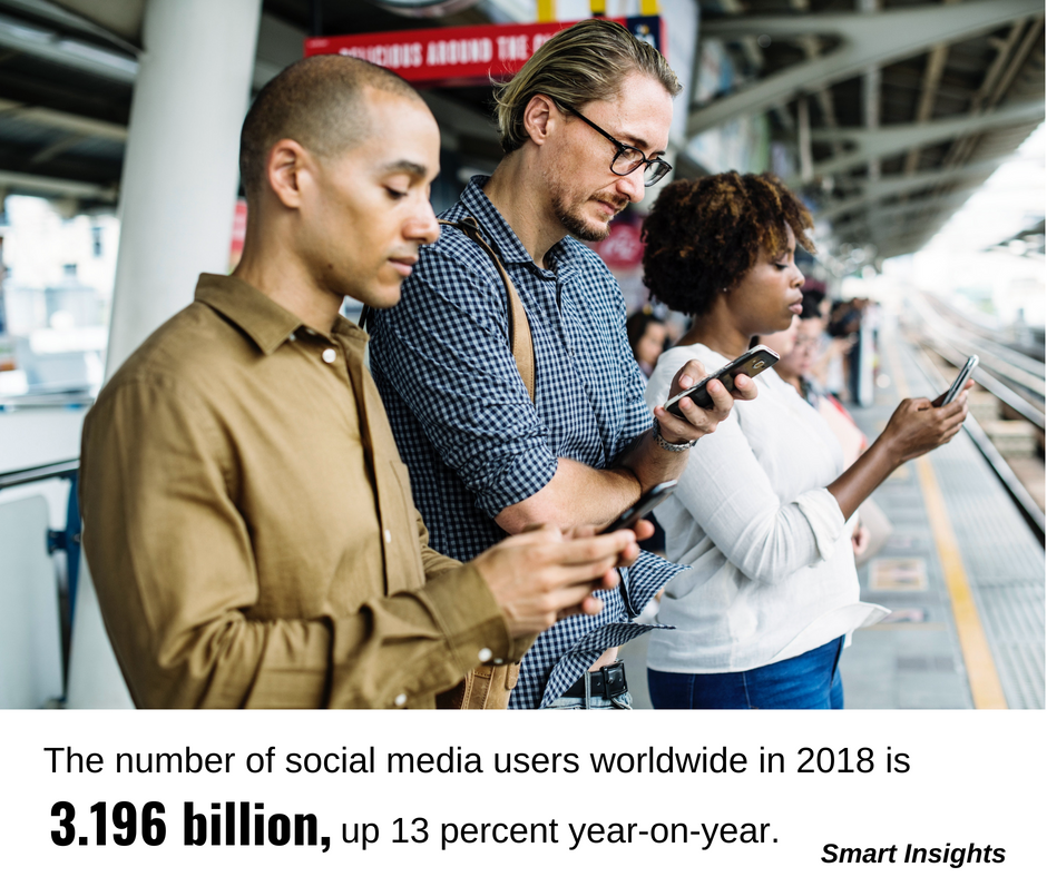 Social media and personalised promotions: image of people waiting for a bus on their phones.