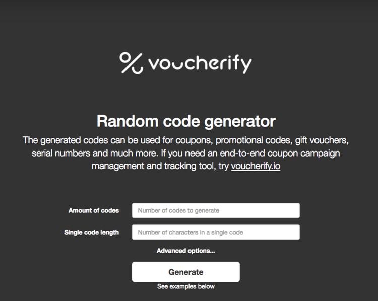 Voucherify random code generator