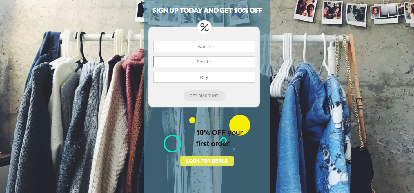 Widgets on your landing page with discount coupons