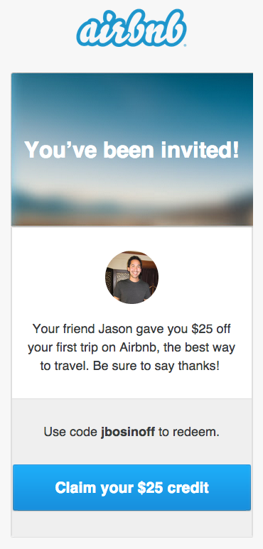 Airbnb referral program invitation
