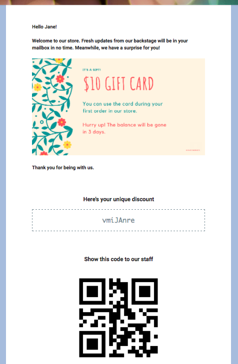 QR codes email message