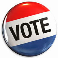"Marketing demographic in political campaign - ""Vote"" badge"