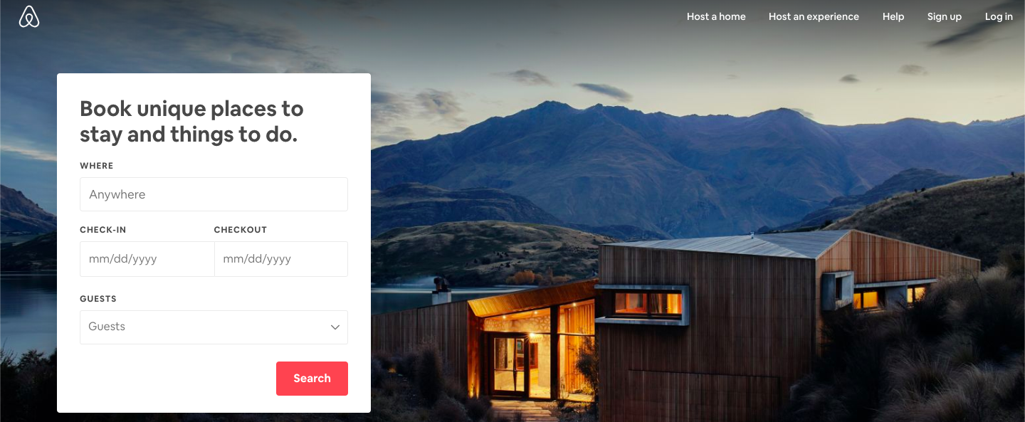 Airbnb - example of a good landing page