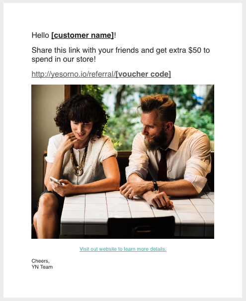 Voucherify email message to join referral program