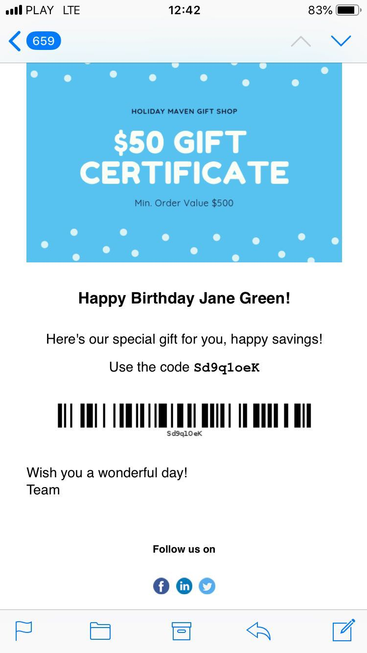 Message with free gift card credits