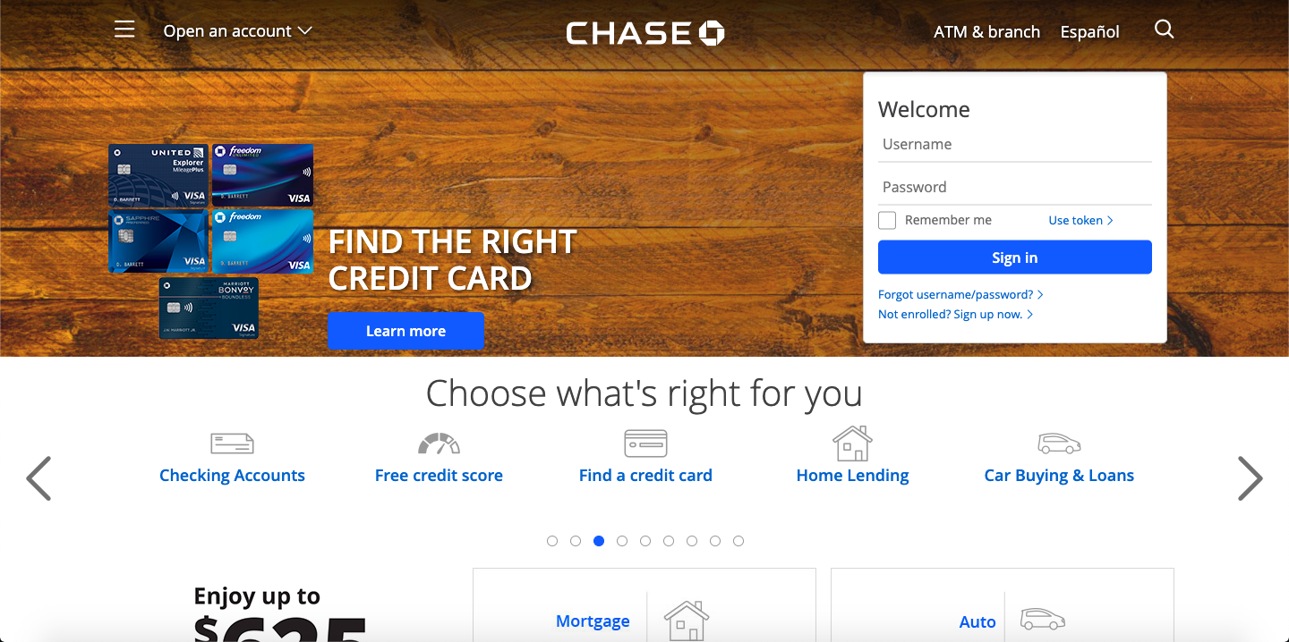 Chase Bank - example of a bad landing page