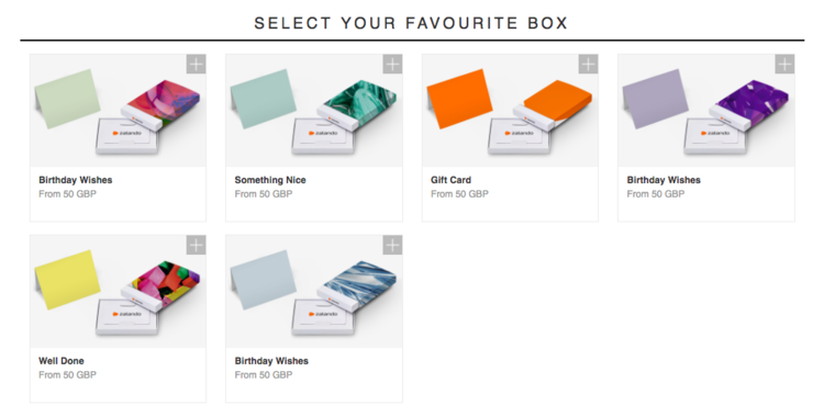 Zalando gift cards - many different types of gift cards