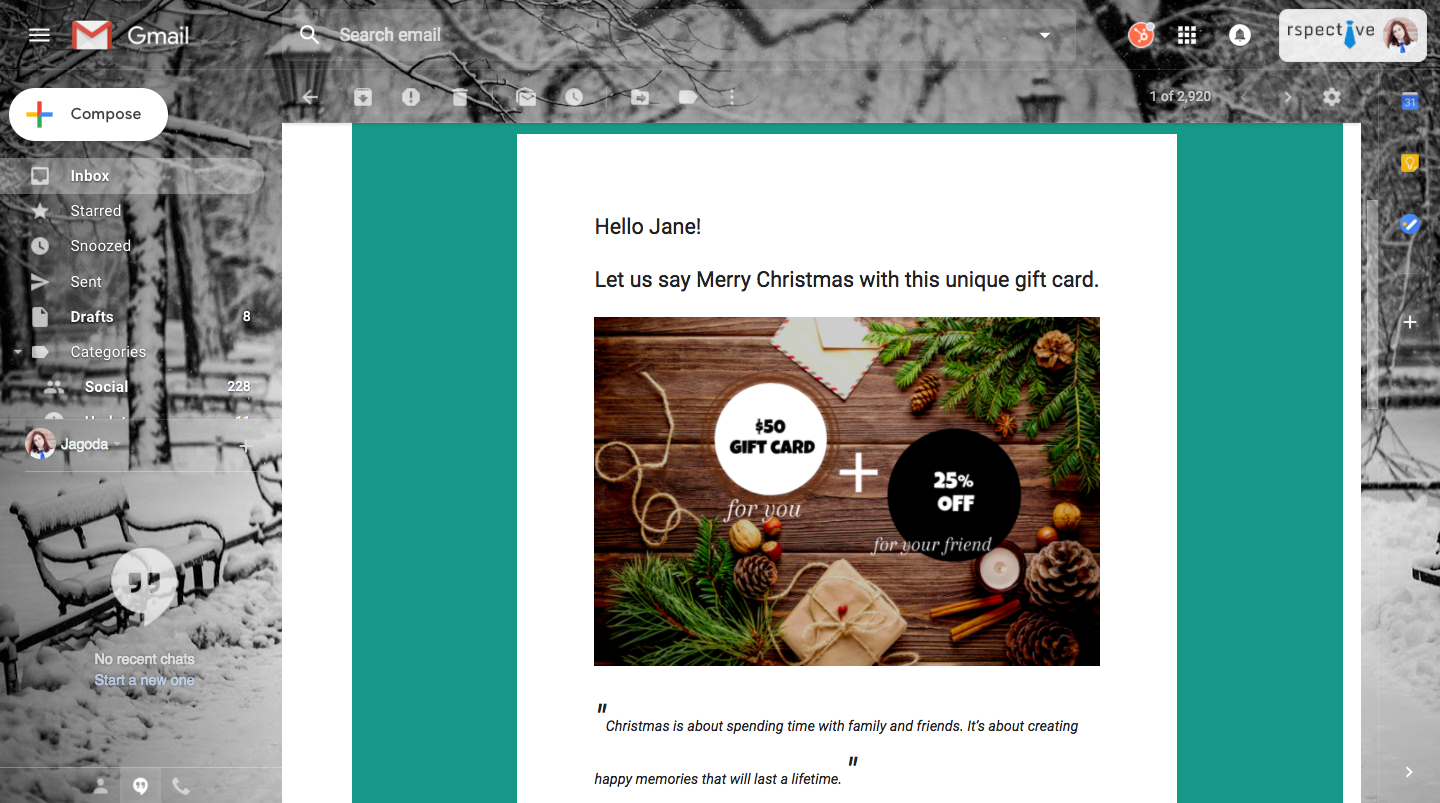 Christmas cards with individual customer codes for tracking