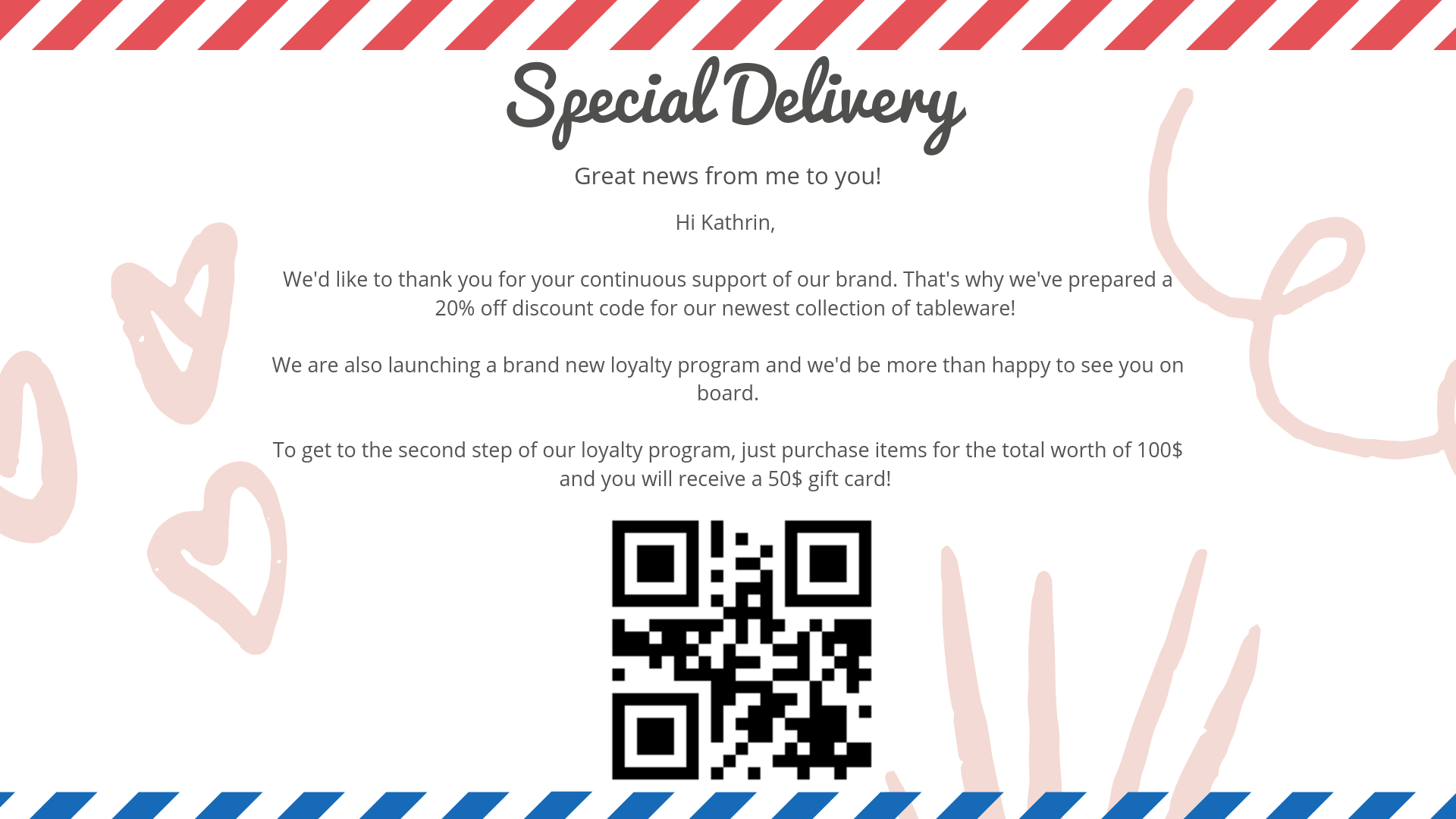 Example of personalised email with loyalty reward