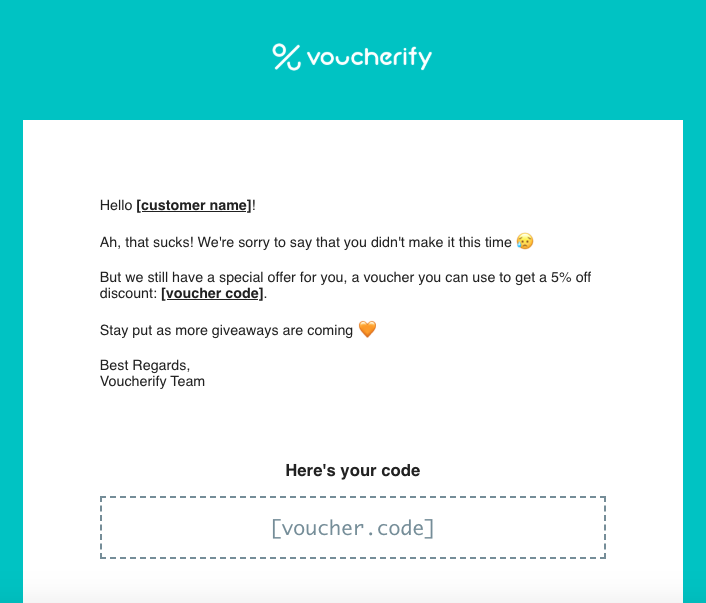 Voucherify consolation message and a discount after a failed online giveaway