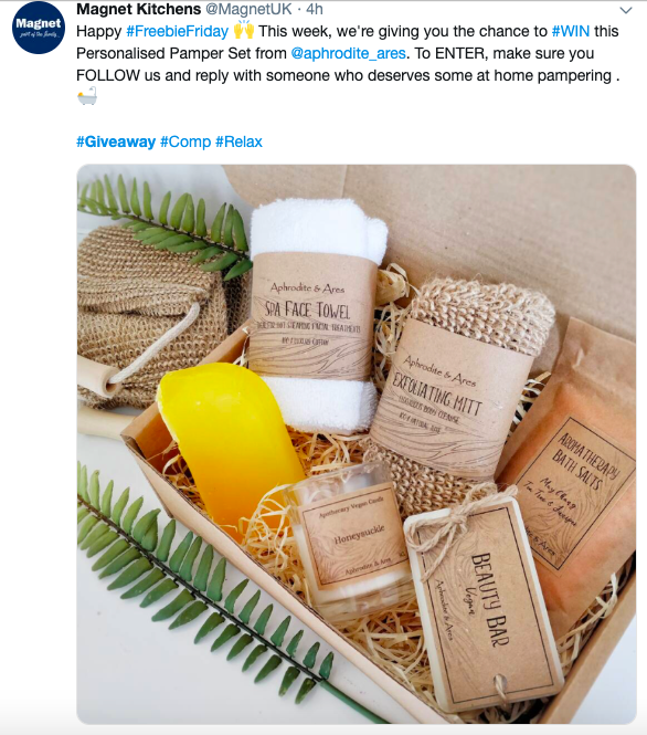 An example of an online giveaway partnership