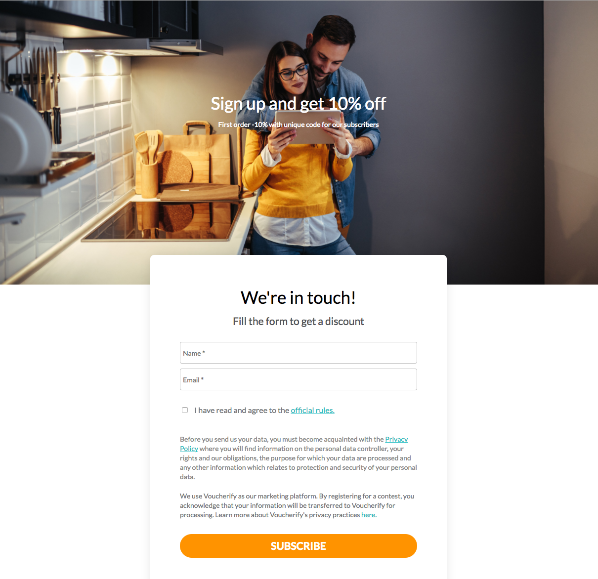 Voucherify landing page customised according to brand guidelines