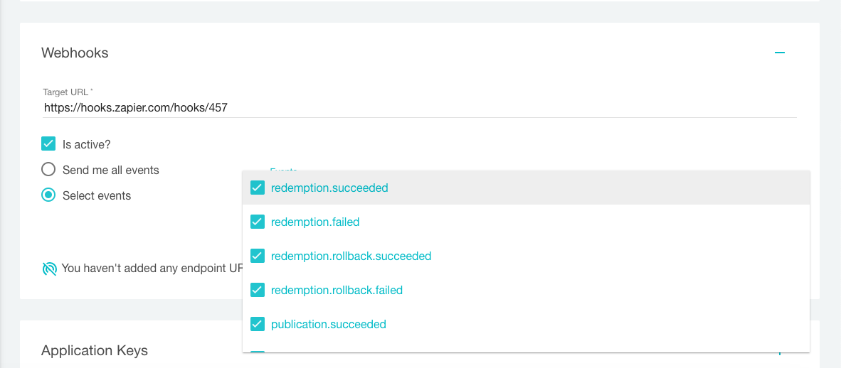 Webhooks in Voucherify – selecting events