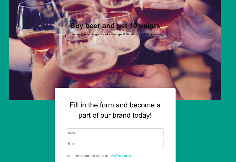 Voucherify loyalty program landing page
