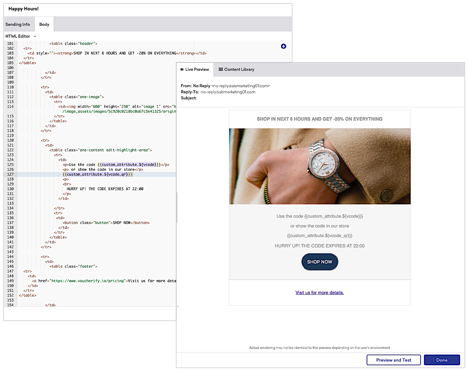 ‍Use Braze Connected Content or Custom Attributes to send codes from Voucherify to customer profiles in Braze.