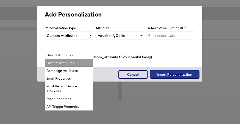 Assign codes to customers and use them as custom attributes in your Braze campaigns.