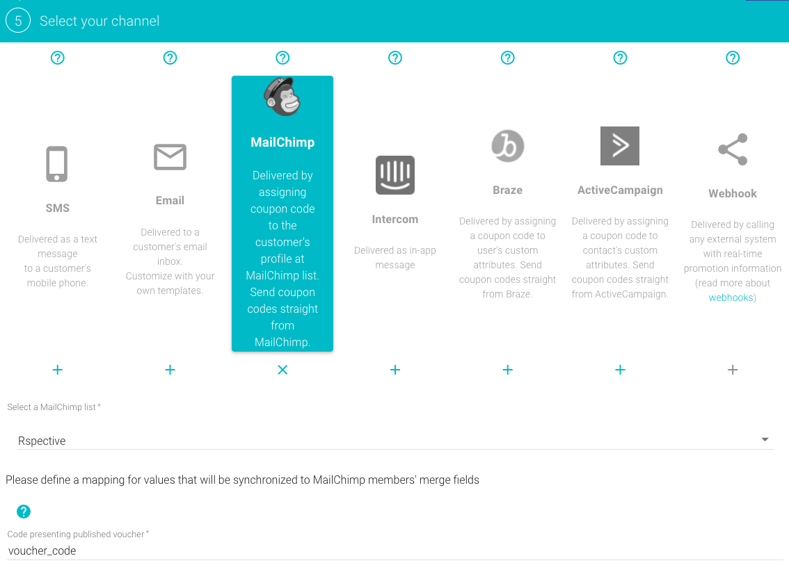 Synchronize contacts and target MailChimp customers with Voucherify Distribution