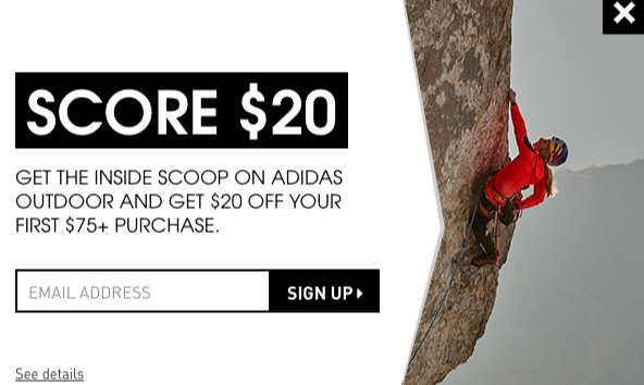 Adidas newsletter discount