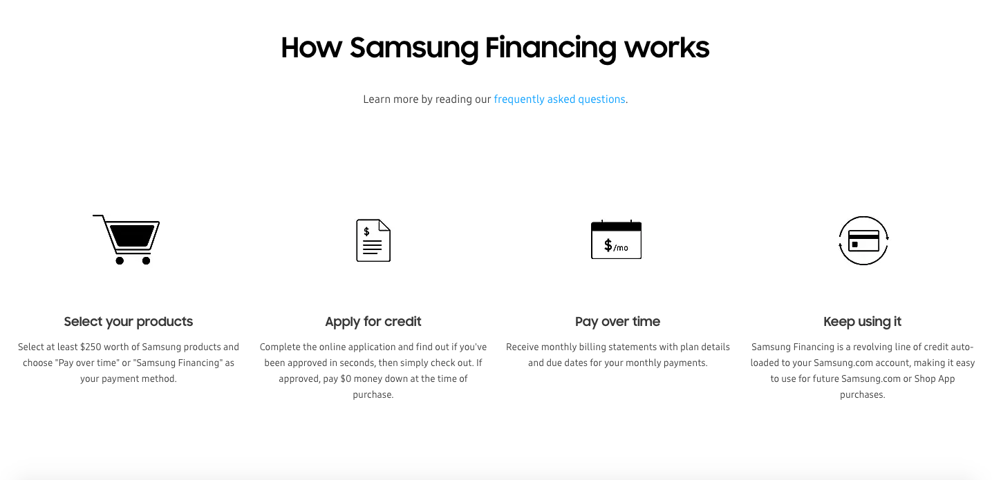 Samsung extra financing options for D2C