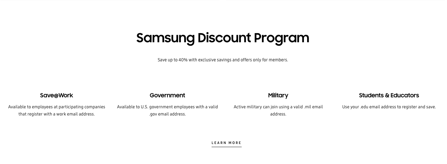 Samsung Discount program