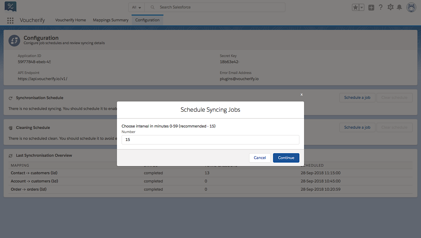 Decide how often Salesforce data should be synced with Voucherify