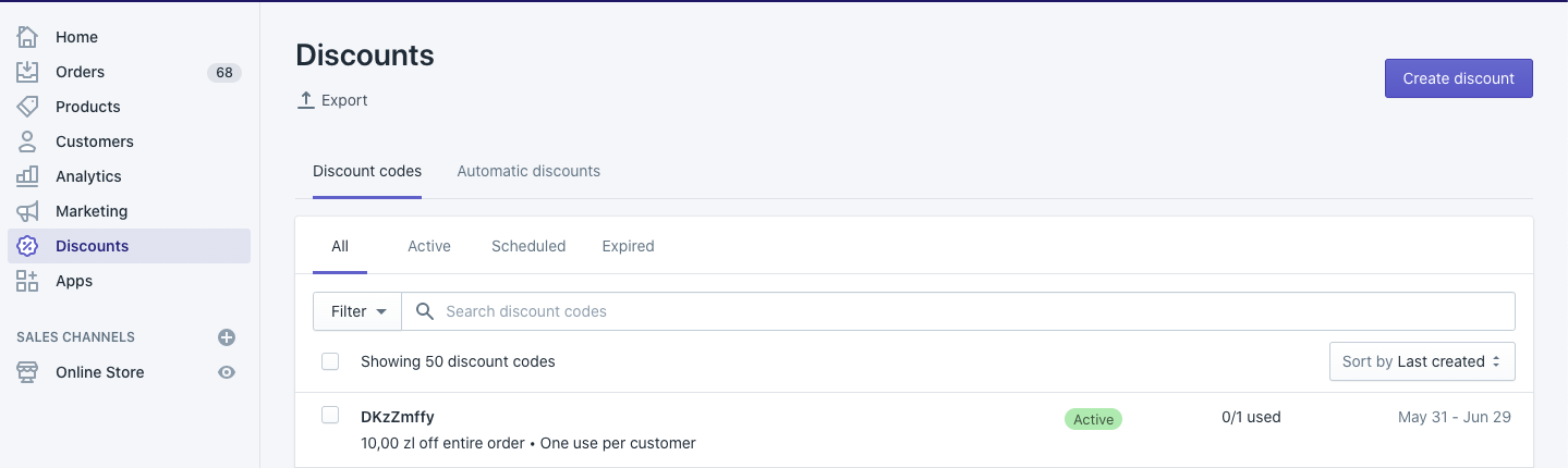 After sending the discount to Shopify, you should see it in your Shopify account