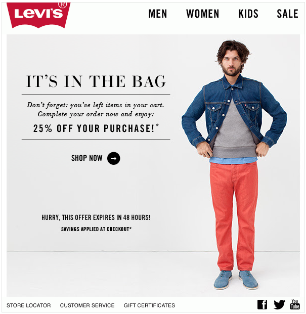 Levi's unfinished shopping promotion