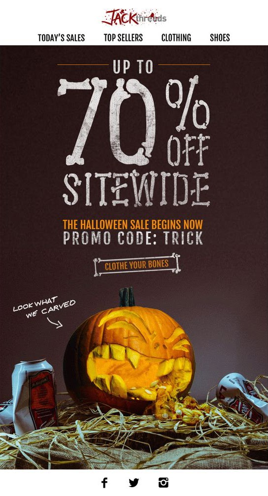 Jack Threads Halloween promotion