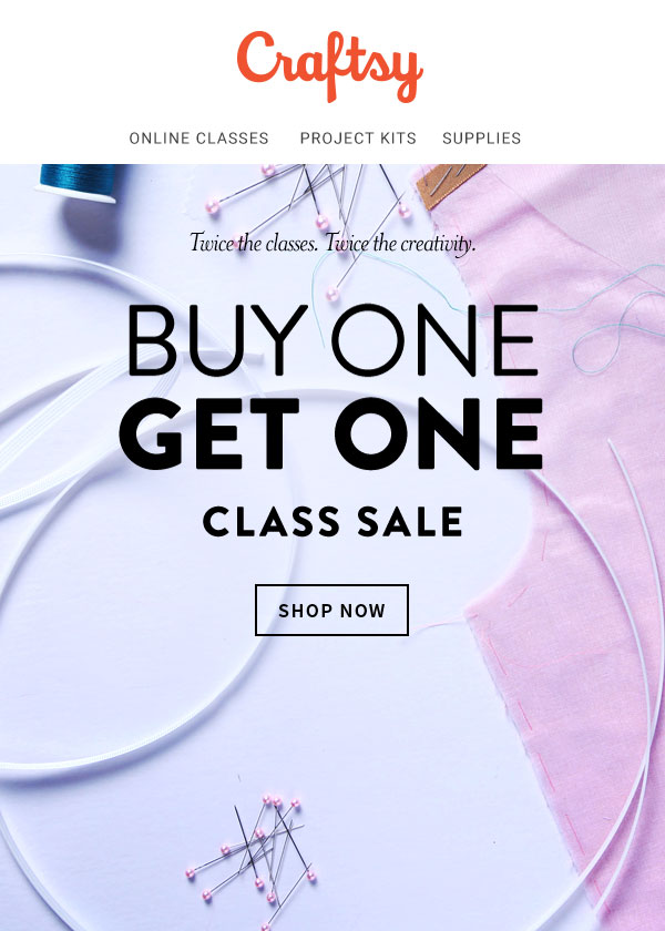 An example of a BOGO campaign from Craftsy