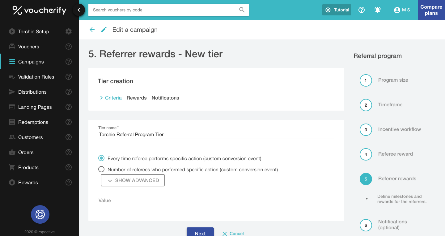 Referrer Rewards tier