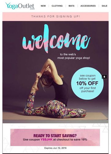 Example of a welcome coupon campaign from YogaOutlet.comU